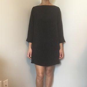 Vince Black Silk Midi Dress Long Sleeve Medium